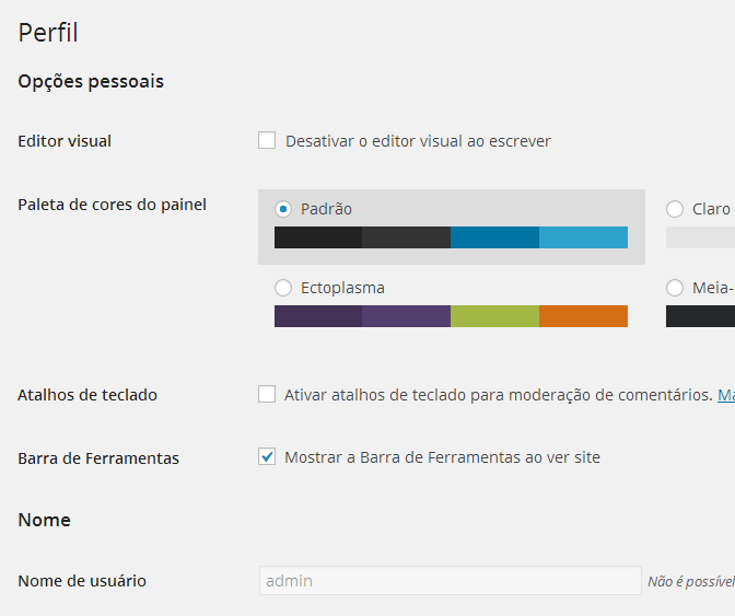 Como desativar a barra de ferramentas do WordPress